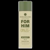 UUS! Dermaflora 0% dušigeel-šampoon aaloe vera ja Q10-ga meestele, 200 ml